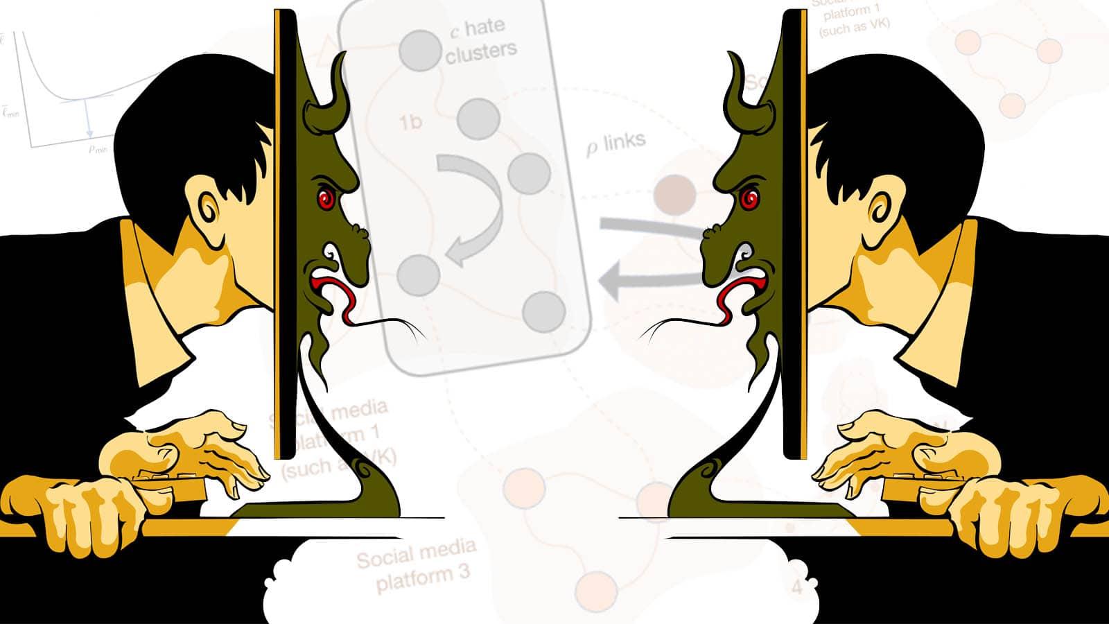 Er det ikke bare å forby hatprat? Vel: Forskere har utviklet en matematisk modell, og mener et forbud ikke vil er veien for å stanse hatprat. Illustrasjon: Alexander Pavlov/Shutterstock