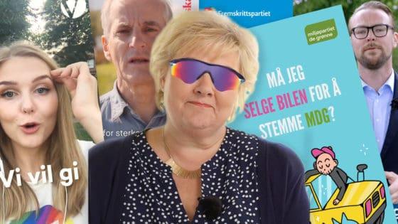 316 politiske annonser ble registrert på Snapchat fra januar til september 2019. Bildene over er hentet fra annonsene til Venstre, Høyre, Arbeiderpartiet, Miljøpartiet De Grønne og Fremskrittspartiet. Illustrasjon: Helt Digital
