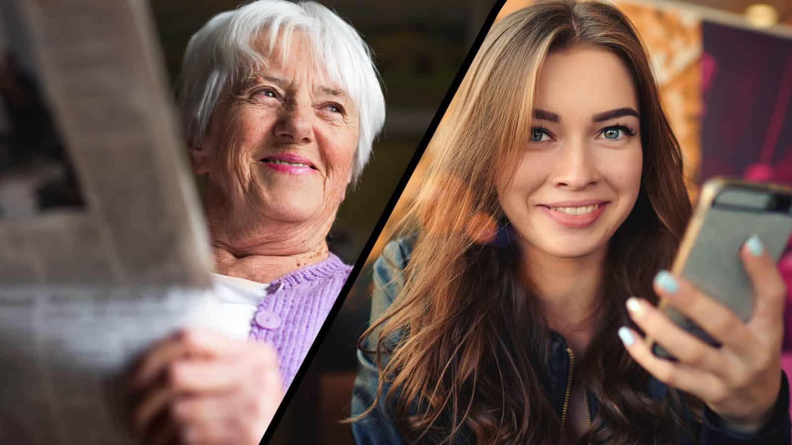 Mens eldre fortsatt får 79 prosent av sitt mediekonsum fra tradisjonelle medier, er bildet snudd på hodet for de yngre. Illustrasjon: Shutterstock/Helt Digital