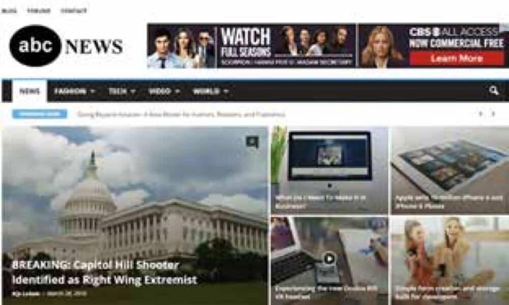 Nei, dette er ikke ABC News. Dette er abcnews.com.co, en falsk nyhetsside som håver inn over 730.000 kroner i annonseinntekter hver måned. (faksimile fra rapporten)