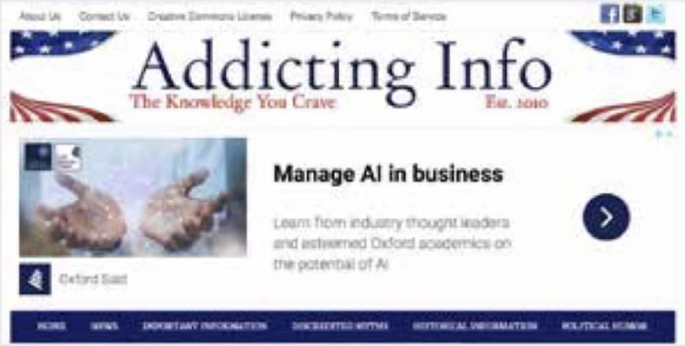 Oxford University annonserer på nettsiden Addicting Info. Dette er en nettside som av Media Bias Fact Check stemples som 'tvilsom med tydelig slagside mot venstresiden', og som gjentatte ganger er tatt for faktafeil. (faksimile fra rapporten)