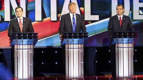 Ja, det amerikanske presidentvalget i 2016 ble forsøkt påvirket av Russland, slår en tverrpolitisk rapport fra Senatet fast. Blant republikanerne som ble rammet av russisk desinformasjon var Marco Rubio (til venstre). Her sammen med Donald Trump og Ted Cruz. Foto: Shutterstock