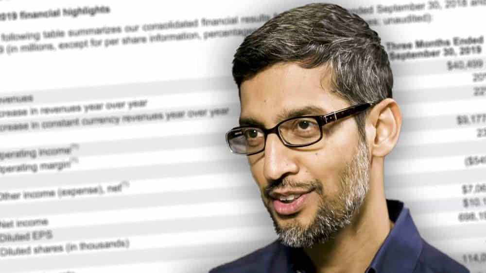Google-sjef Sundar Pichai sørget for 99,6 prosent av omsetningen til morselskapet Alphabet i 3. kvartal.