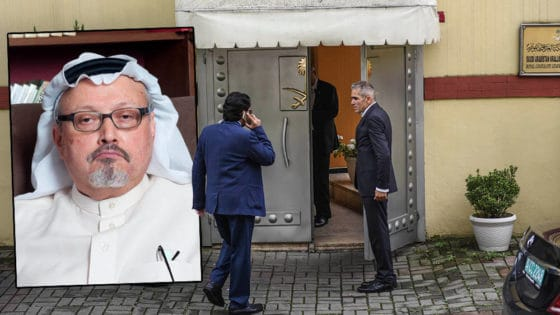 Den regimekritiske journalisten Jamal Khashoggi (innfelt) ble drept rett etter at han gikk inn i det saudiarabiske konsulatet i Istanbul 2. oktober 2018. Khashoggi er én av nær 495 journalister som ble drept i årene fra 2014 til 2018. Foto: Shutterstock