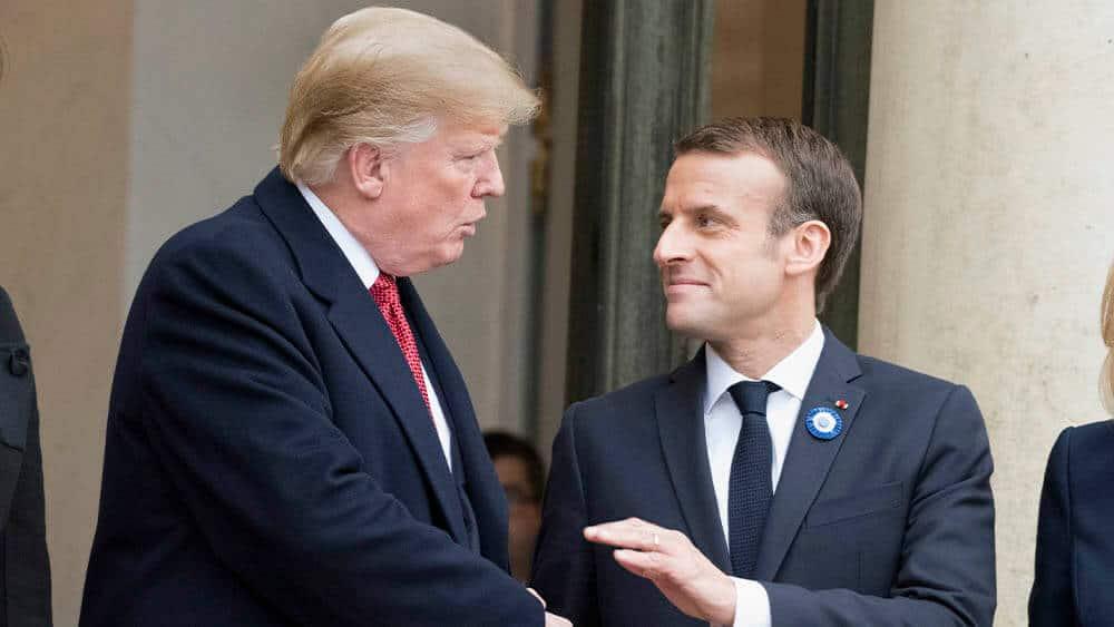 USAs president Donald Trump og den franske presidenten Emmanuel Macron. Bildet er tatt under et møte i november 2018. Foto: Frederic Legrand/COMEO
